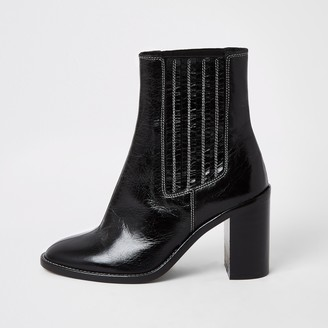 River Island Womens Black leather constrast stitch gusset boots