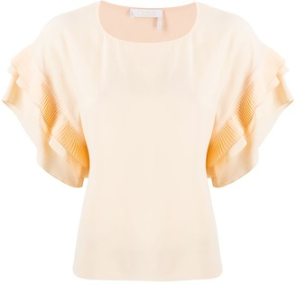Chloé Round Neck Ruffled Top