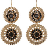 Natasha Accessories Double Circle Drop Crystal Earrings
