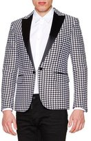 DSQUARED2 Satin-Lapel Houndstooth Evening Jacket, Black/White