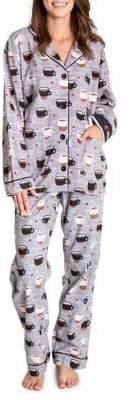 PJ Salvage Coffee Printed Flannel PJ Set