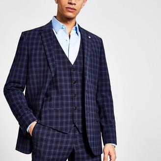 River Island Blue check suit waistcoat