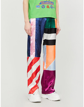 Walter Van Beirendonck Colour-blocked striped straight satin trousers