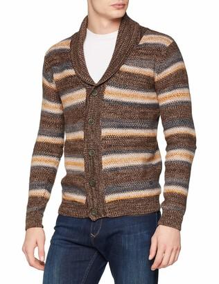 Solid !Solid Men's 6182602 Regular Fit Collar Long Sleeve Cardigan - Brown - Medium