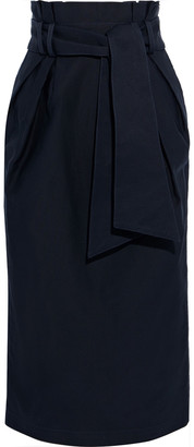 Gabriela Hearst Jordan Belted Cotton-ottoman Midi Skirt