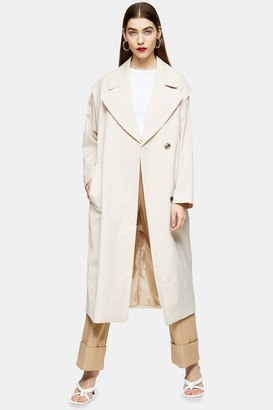 Topshop Womens Cream Lipped Shoulder Duster Coat - Cream