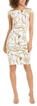 Thalia Sodi Off-The-Shoulder Printed Bodycon Dress, Created for Macy's