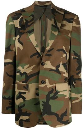 R 13 Camouflage Print Blazer