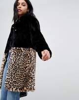 Barneys Originals Barney's Originals leopard print color block faux fur coat