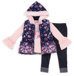 Little Lass Little Girl's 3-Piece Faux Fur-Trim Vest, Cotton-Blend Top & Denim Leggings Set