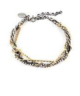 Iosselliani Women's Oxidised Silver Round Clear Zircon Rope Bracelet of Length 18-23cm