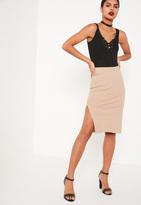 Missguided Nude Split Side Midi Skirt
