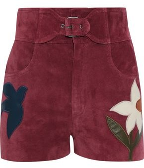 RED Valentino Leather-appliqued Suede Shorts