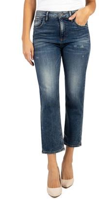 KUT from the Kloth Elizabeth High Waist Distressed Crop Straight Leg Jeans
