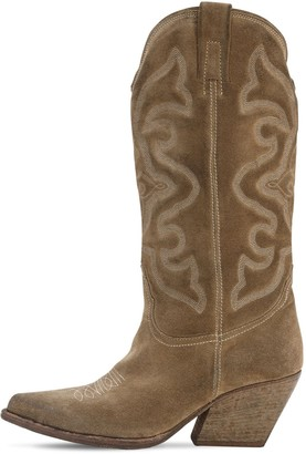 Elena Iachi 70mm Suede Tall Cowboy Boots
