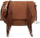 Diane von Furstenberg Paneled Textured-Leather And Fringed Suede Shoulder Bag