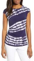 Chaus Zip Shoulder Ruched Shibori Top