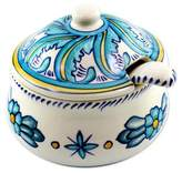 Ceramic Sugar Bowl and Spoon Matching Spoon, 'Quehueche'
