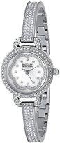 Badgley Mischka Women's BA/1343WMSB Swarovski Crystal-Accented Silver-Tone Bangle Watch