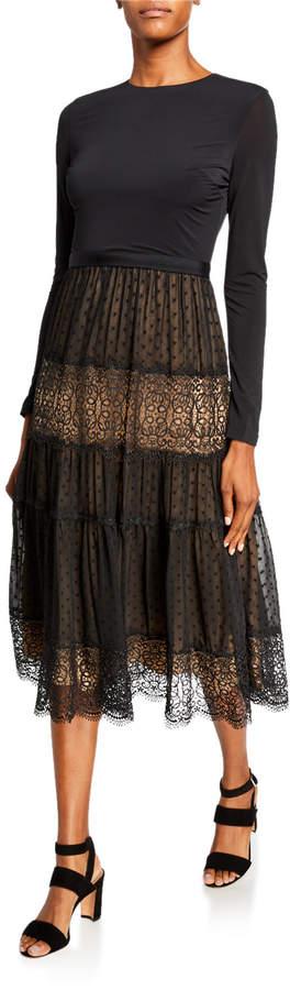 Catherine Deane Long-Sleeve Midi Dress w/ Jersey Bodice & Lace Skirt