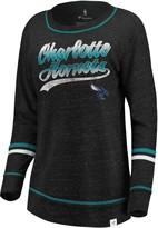 Women's Fanatics Branded Black/Aqua Charlotte Hornets Dreams Sleeve Stripe Speckle Long Sleeve T-Shirt