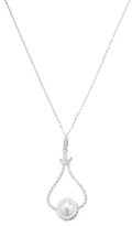14K White Gold, South Sea Pearl & 0.50 Total Ct. Diamond Pendant Necklace