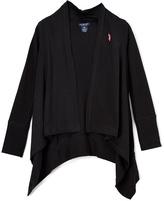 U.S. Polo Assn. Black Sidetail Open Cardigan - Girls