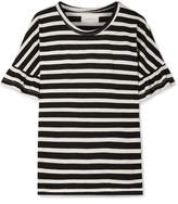 The Great The Ruffle Striped Cotton-jersey Top - Black