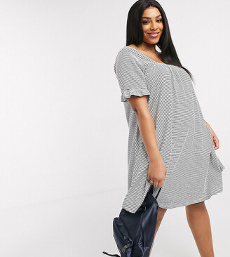 Asos DESIGN Curve square neck frill sleeve smock dress in navy and cream in stripe