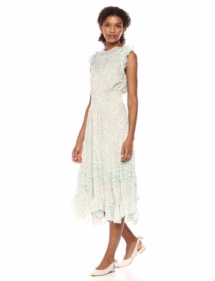 Rebecca Taylor Women's Sleeveless Floral Midi Dress with Asymetrical Hem