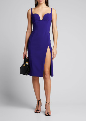 Thierry Mugler Crepe Sweetheart Front-Slit Sheath Dress