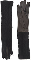 Barneys New York Women's Cable-Knit Long Gloves-BLACK