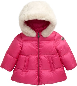Moncler Caen Down Coat with Faux Fur Hood