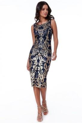 Goddiva Scalloped Hem Sequin Embroidered Midi Dress