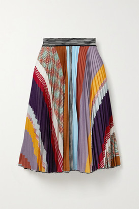 Missoni Pleated Striped Crochet-knit Skirt - Navy