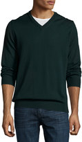 Neiman Marcus Wool Long-Sleeve V-Neck Sweater, Green Lake