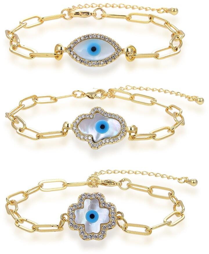 Set of 3 Evil Eye Hamsa steel Jewelry