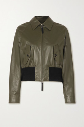 Marni Leather And Cotton-blend Bomber Jacket - Army green