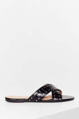 Nasty Gal Womens Pin stud cross strap flat mules - Black - 5, Black