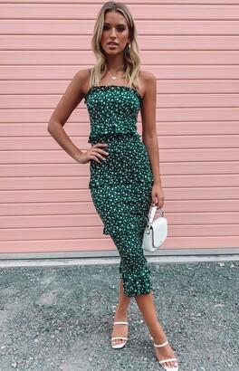 Beginning Boutique Galleria Midi Dress Green Floral