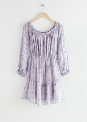 And other stories Chiffon Off Shoulder Mini Dress