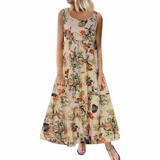 Zerototens Women Dress Women Maxi Dress Zerototens Plus Size Ladies Oversized Tunic Kaftan Dress Loose Casual Summer Beach Sundress Long Boho Dress Lady T-Shirt Dress