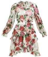 Dolce & Gabbana Rose-print Silk-chiffon Ruffled Mini Dress - Womens - White Multi