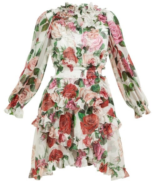 c59a93d09eb Rose Print Silk Chiffon Ruffled Mini Dress - Womens - White Multi