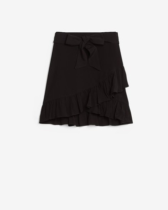 Express High Waisted Ruffle Tie Mini Skirt