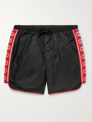 Gucci Slim-Fit Mid-Length Logo Webbing-Trimmed Swim Shorts