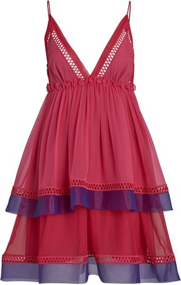 Alberta Ferretti Ruffled Silk Chiffon Mini Dress