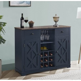 August Groveâ® Swavar Wine Bar Cabinet August GroveA Color: Navy