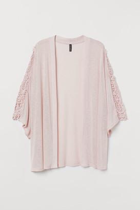 H&M H&M+ Lace-detail Cardigan - Pink