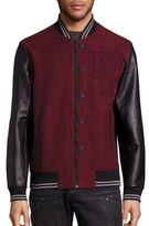True Religion Collegiate Moleskin Leather Blend Varsity Jacket